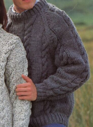 28 Knitting Pattern Lady/'s//Men/'s Cable Sweaters 2 Styles 76-122 cm