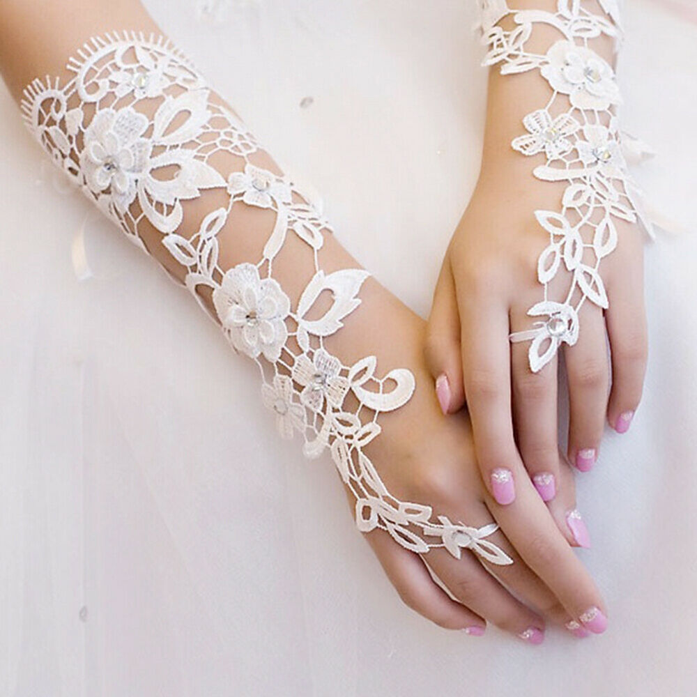 HK- 1 Pair White Lace Floral Bride Wedding Party Evening Dress Fingerless Gloves Clothing, Shoes & Accessories