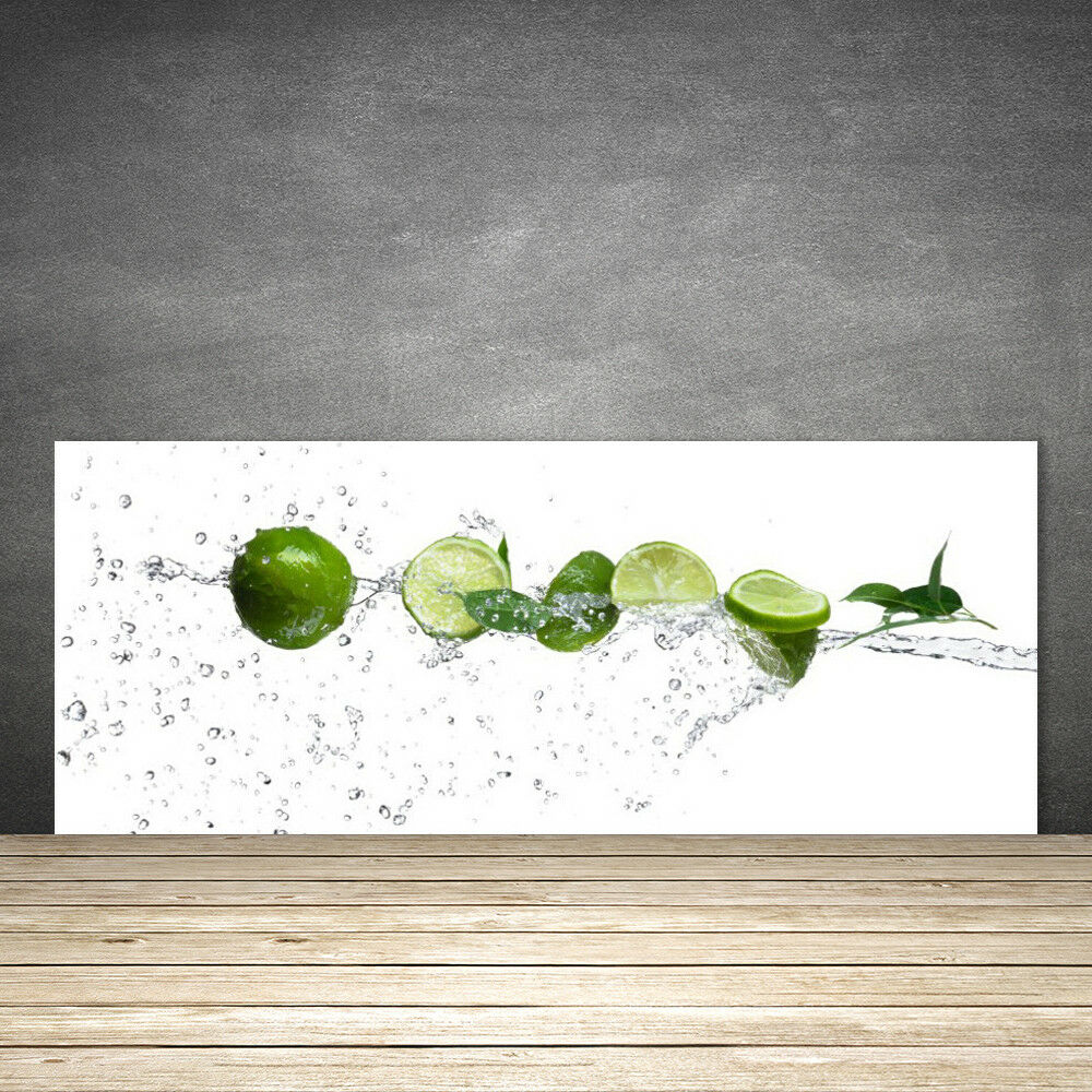 Crédence de cuisine en verre Panneau 125x50 Cuisine Citron Vert Lime Eau