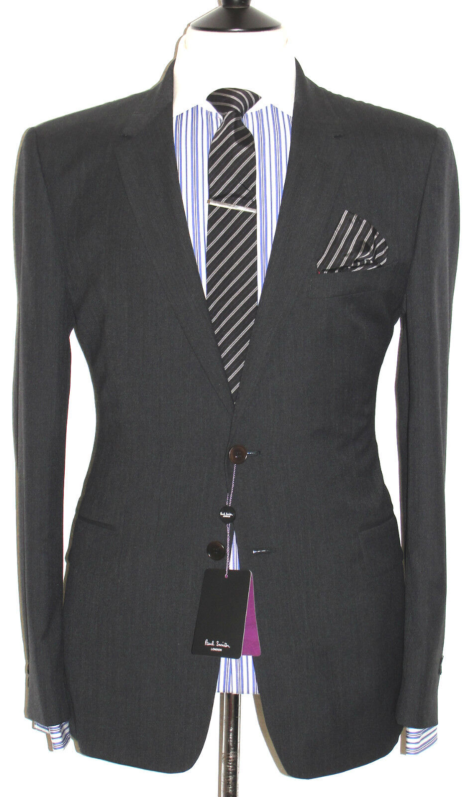BNWT TAILOR-MADE PAUL SMITH THE REGENT  CHARCOAL DARK grau SUIT 46R W40