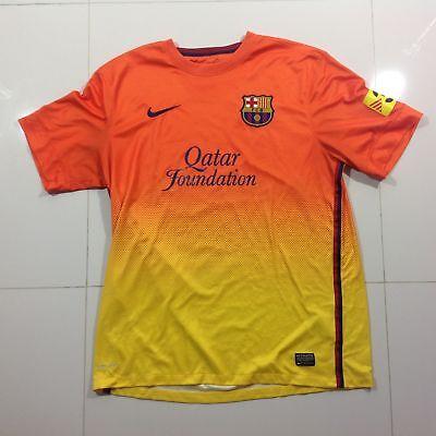 buy popular 2de17 3045c RARE Barcelona FC Jersey NIKE Dri Fit Football Mens Size Large Orange  Yellow | eBay