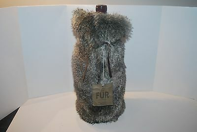 NEW RESTORATION HARDWARE LUXE FAUX FUR CHINCHILLA WINE BAG BOTTLE TOTE GIFT NEW