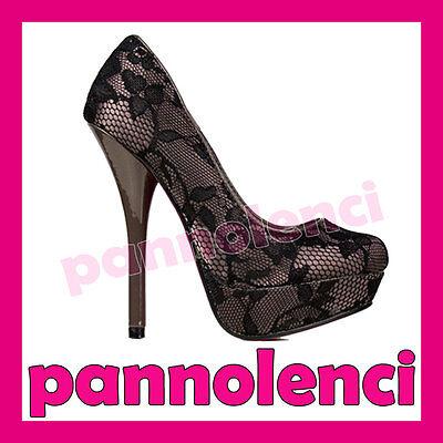 Zapatos de mujer salón ENCAJE tacón alto pumps 3976-2A