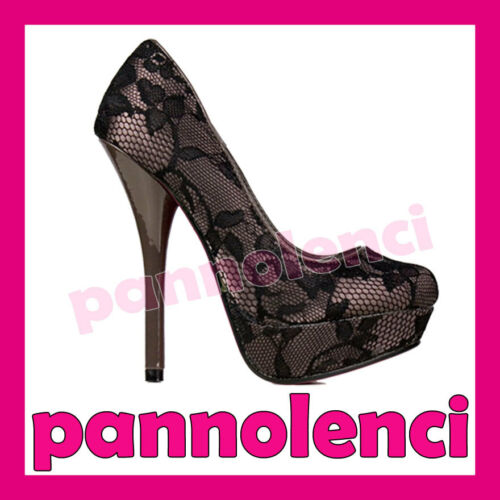 Tacchi Donna 3976 Scarpe Heels 2a Pumps Decollete Decoltè High Alti Pizzo Utxxzrn