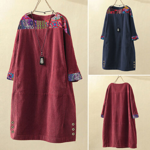 UK Women Corduroy Floral Printed Midi Shirt Dresses Baggy Loose Jumper Pullover