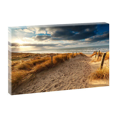 Strandkörbe Bild Panorama Leinwand Poster Wandbild Kunstdruck 160 cm* 80 cm 748