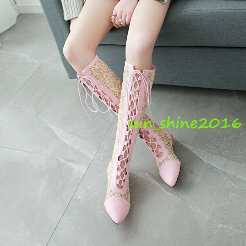 Women Gladiator Summer Knee High Boots Lace Up Up Up Roman Flat heel breath shoes 12.5 f53e3e