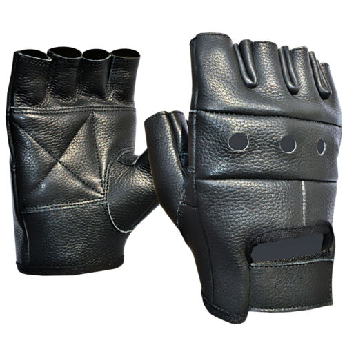 FINGER LESS LEATHER GLOVES BLACK GYM TRAINING WEIGHT LIFTING NEW
