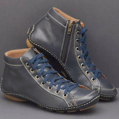 Women/'s Boots Shoes Stylish Boots Flat Booties Casual Faux Leather Retro