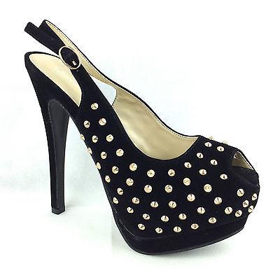 Nuevas señoras Tachas picos de tacón alto Stiletto Noche Platform Court Shoes Reino Unido 3-8