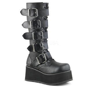 d8fa9014215 DEMONIA TRA518 B PU Men s Gothic Punk Black Platform Knee High ...