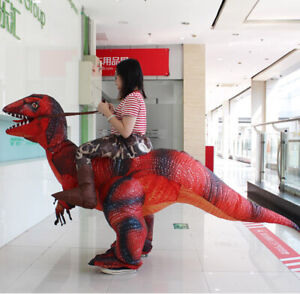 NEW Adult Kids Inflatable Costume Riding Dinosaur T-REX Cosplay Halloween Suit