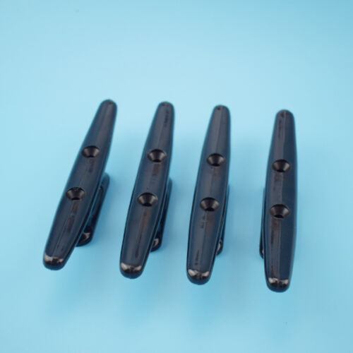"4 Pieces Boat Marine Cleat 4/"" Black Nylon Plastic Open Base High Quality"