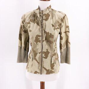 XCVI-Womens-Size-Small-Top-Jacket-Zip-Up-Long-Sleeve-Camo-Print-Lightweight