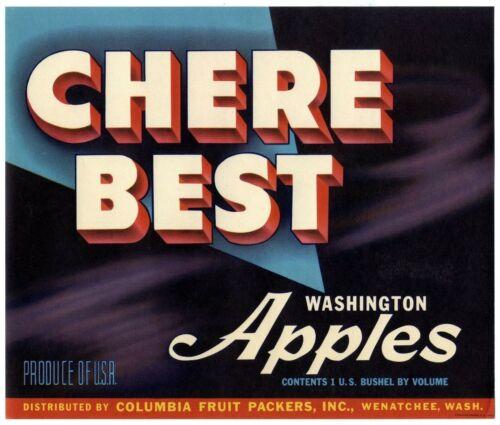 CHERE BEST~ORIGINAL 1940s WENATCHEE WASHINGTON AUTHENTIC APPLE FRUIT CRATE LABEL