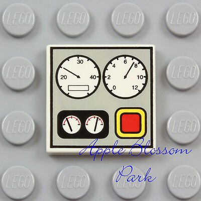 NEW 4 Lego 1x2 Gray Decorated FLAT TILE w//Engine Gauge//Dial Dashboard Pattern