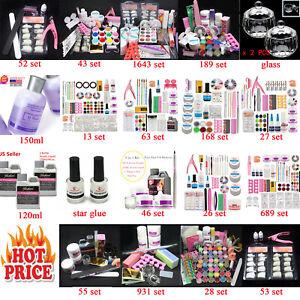 PRO-Nail-Art-Kit-set-Acrylic-Powder-Glitter-Nail-Art-Manicure-Tool-Tips-Brush-US