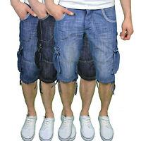 Crosshatch Mens Designer Branded Combat Summer Lightweight Denim Shorts, BNWT