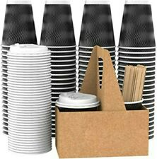 Vanaki 85 Sets12 Oz Disposable Paper Coffee Cups With Lids Wooden Stirrers