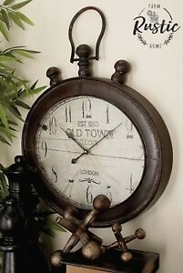 Image Is Loading Large Metal Oval Wall Clock Rustic Decor London