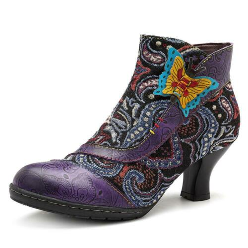 Socofy Vintage Splicing Pattern Side Zipper Ankle Leather Boots