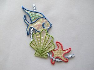 4212-Tropical-Aquarium-Fish-Clam-Starfish-w-Rope-Embroidery-Applique-Patch