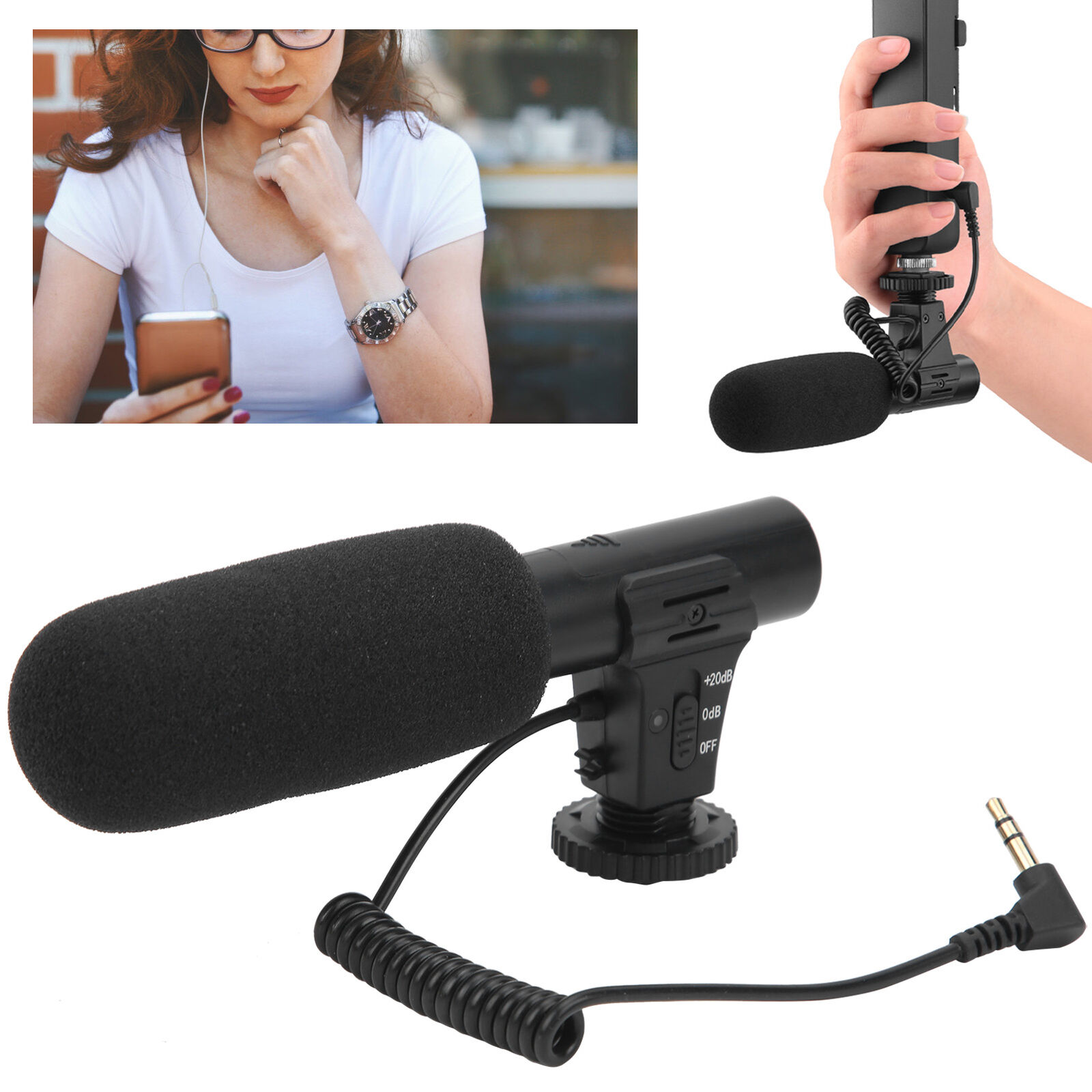 3.5mm Stereo Condenser Microphone Recording With Cold Shoe for DJI OSMO POCKET 2
