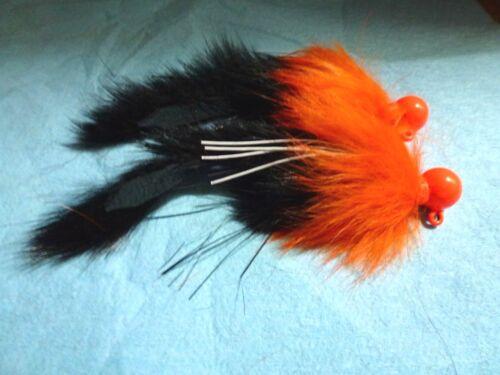 4//0 Orange Secousses Jig 2 calibres Steelhead Salmon 1//2 oz Noir//Orange