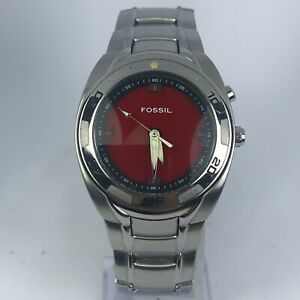 Fossil-Mens-AM-3847-BIG-TIC-Silver-Tone-Stainless-Steel-Red-amp-Black-Dial-Watch
