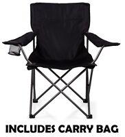 Folding Outdoor Black Camping Chair Fishing Foldable Beach Garden Furniture