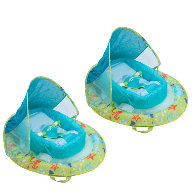 SwimWays Fabric Infant Baby Spring Swimming Pool Float With Canopy (2 Pack)
