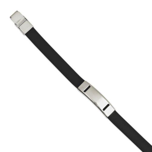 """Chisel Stainless Steel Polished Black Rubber Engravable Bracelet 7.75/"""""""
