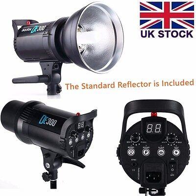 UK Godox DE300 Photo 300W Bowens Mount Flash Strobe Studio Light Head +Reflector