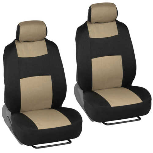 Sporty Rome Beige Car Seat Cover W// Black Carbon Fiber Steering Wheel Cover