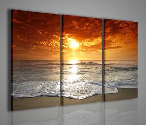 Quadri moderni red sun quadro moderno mare tramonto - Quadri per casa mare ...