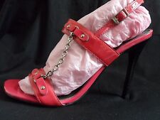 Hot Pink Patent Leather *BRONX* Chain Detail Sandals / Shoes UK 3 / EUR 36