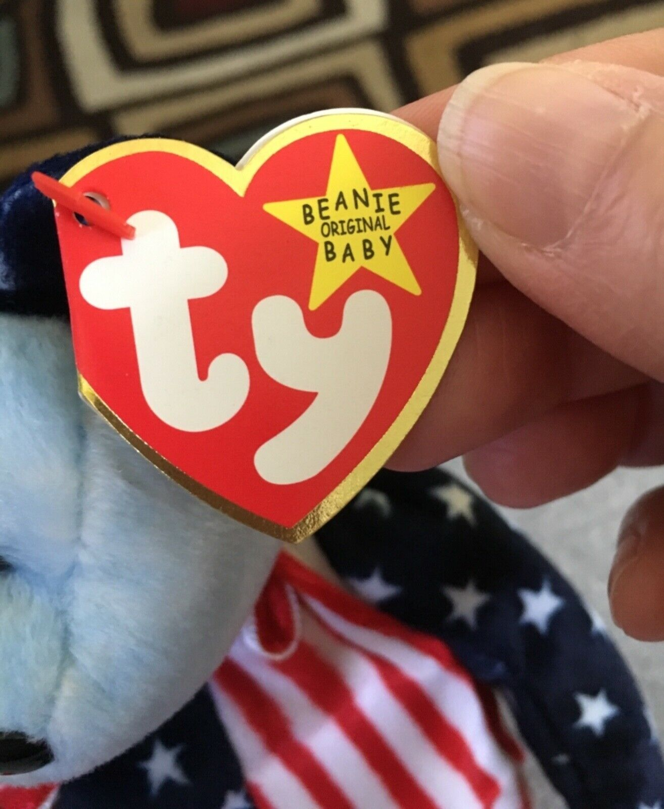 Retired  SPANGLE SPANGLE SPANGLE BEAR (bluee Face) TY Beanie Babies baby USA patriotic MWMT 1999 7d378b