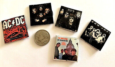 """Dollhouse Miniature Overstock Lot Sale /""""Record/"""" Albums with /""""Records/"""" #8 1:12"""