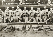 CARDINALS CLASSIC GAS HOUSE GANG ON DUGOUT STEPS WITH BASEBALL BATS SPREAD OUT