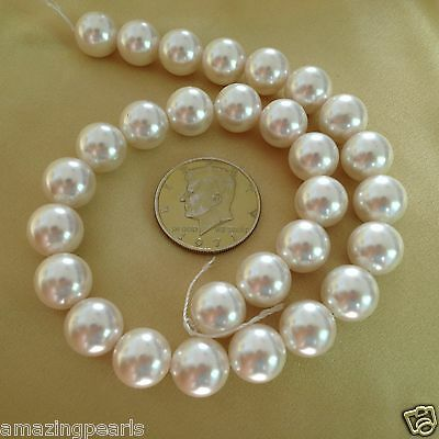 """8-12 mm Faceted White Shell Pearl Round Loose Beads 15/"""""""