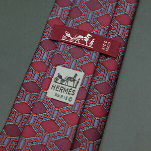 Vintage-Hermes-Paris-Made-In-France-Red-Chain-Pattern-Silk-Tie-937-IA