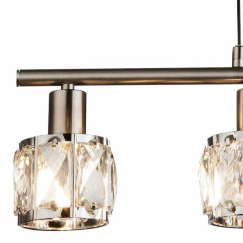 Hänge Decken Lampe Höhe verstellbar Ess Zimmer Kristall Pendel Leuchte Chrom