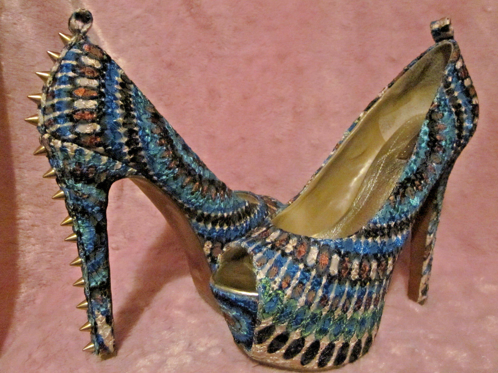 Platform Stilettos w gold Spikes Bright colord 5M Green bluee Tan & 5.5  Heels