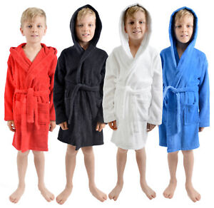 Boys 100 Cotton Towelling Dressing Gown Hooded Bath Robe Xmas Gift