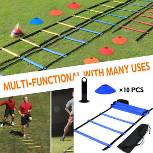 Speed-Agility-Train-Kit-Flat-Ladder-10pcs-Disc-Cones-1Rack-Athletic-Training