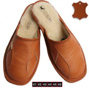 Herren-Warme-Lammfell-Schafwolle-Hausschuhe-Pantoletten-Pantoffeln-Echt-Leder