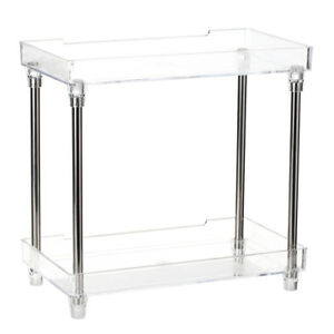 Details About Transparent 2 Tier Cosmetics Organizer Display Tray Storage Makeup Shelf A5x3