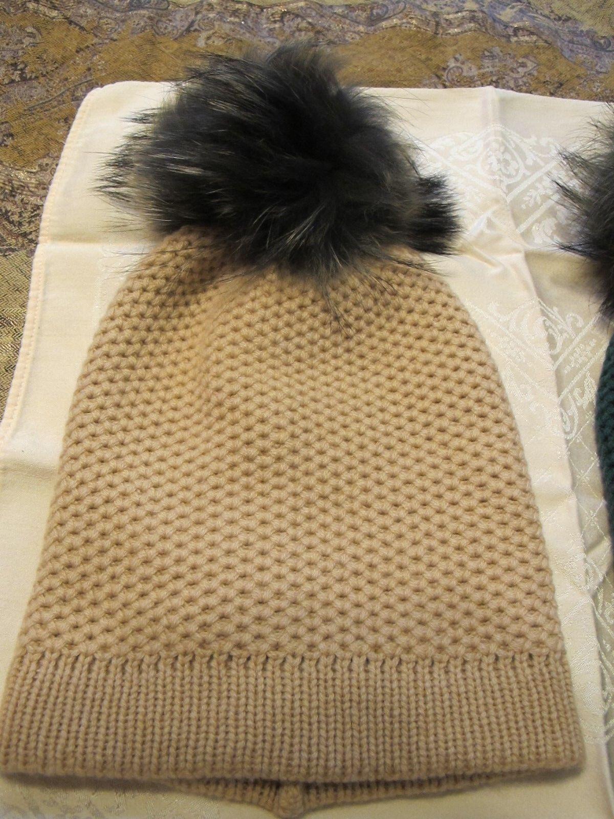 NWT Raffaello Bettini Beige Cashmere Women Real Fox Fur Dyed Pom Pom Hat No Size