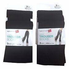 Hanes 6 Pair Black Sheer Knee High Trouser Socks Plain Ribbed Diamond Patterns