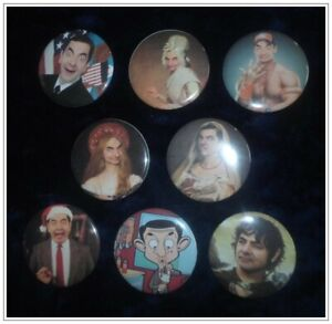 """Mr Bean-2-1//4/"""" Reproduction Pinback Buttons Set of 8 #01"""